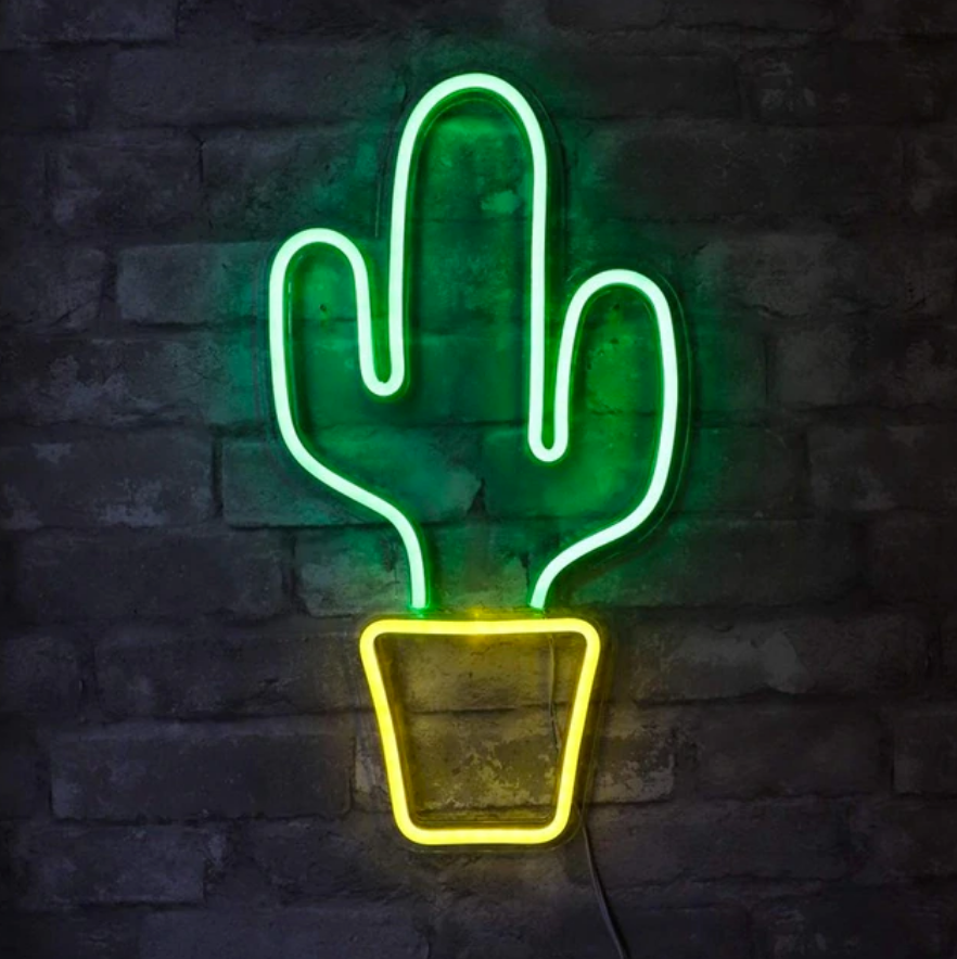XL Cactus Acrylic Neon LED Light