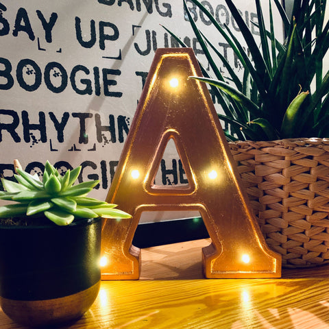 ROSE GOLD WOODEN LED Letter Lights
