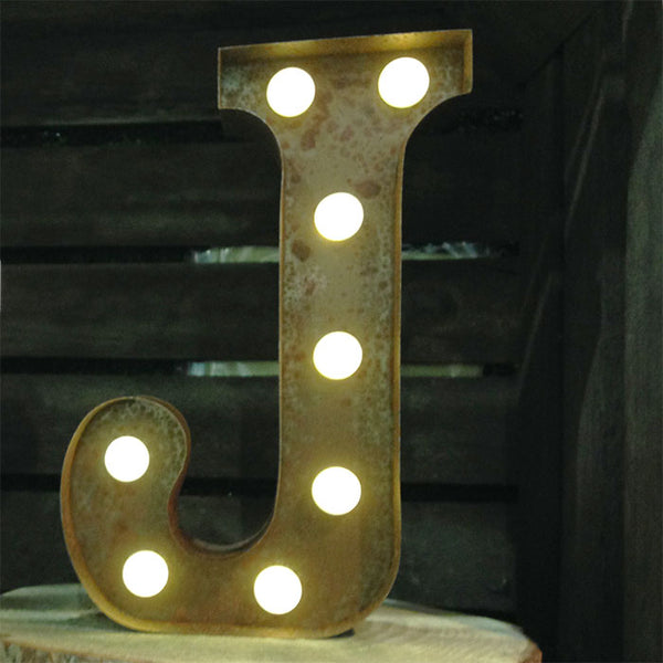 Metal J LED Letter Light