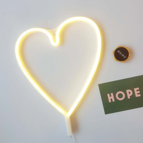 WHITE HEART Acrylic Neon LED Light
