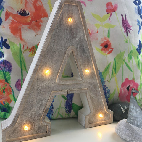 Wooden White Washed LED Letter Lights