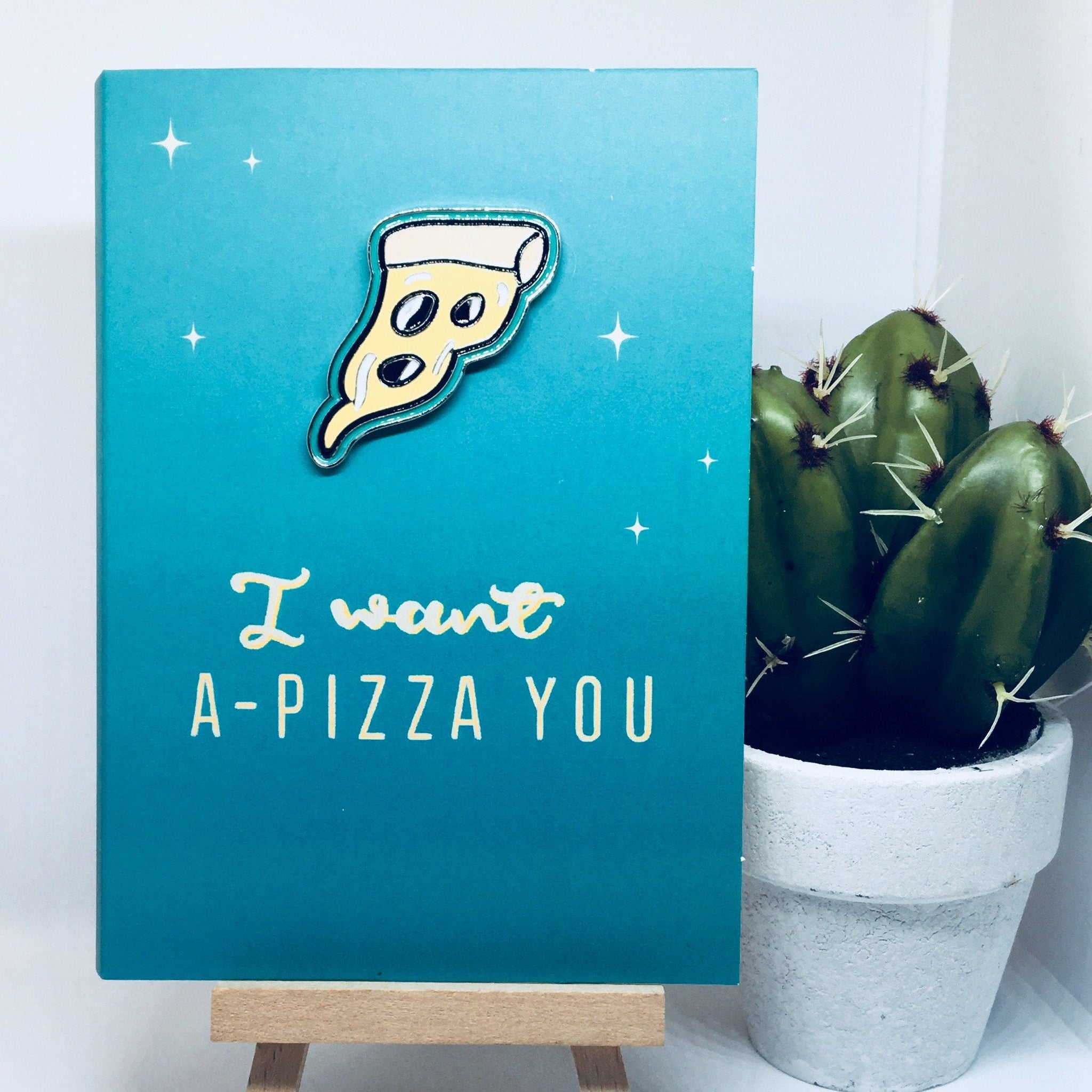 'I Want A Pizza You' Blank Card & Pin Set
