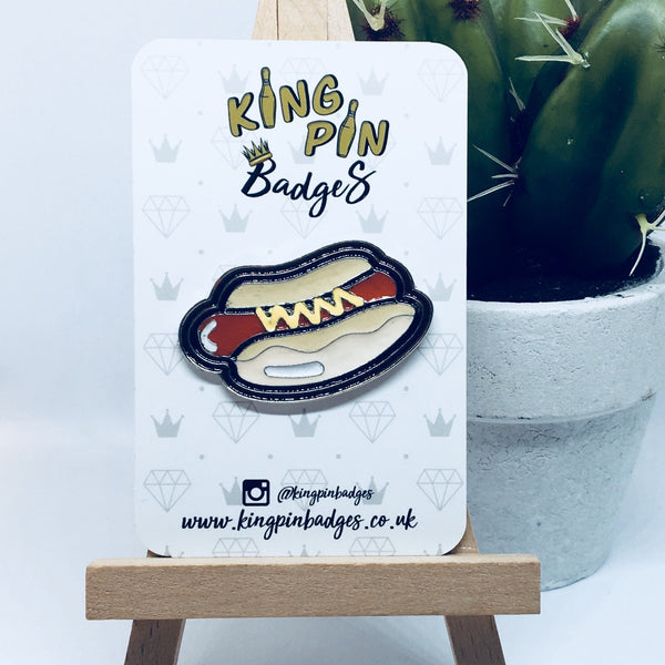 LARGE HOT DOG Enamel Pin Badge