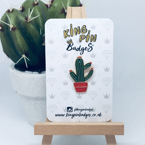 RED POT CACTUS Enamel Pin Badge