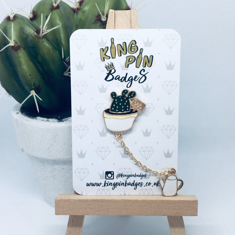 CACTUS & WATERING CAN Enamel Pin Badge