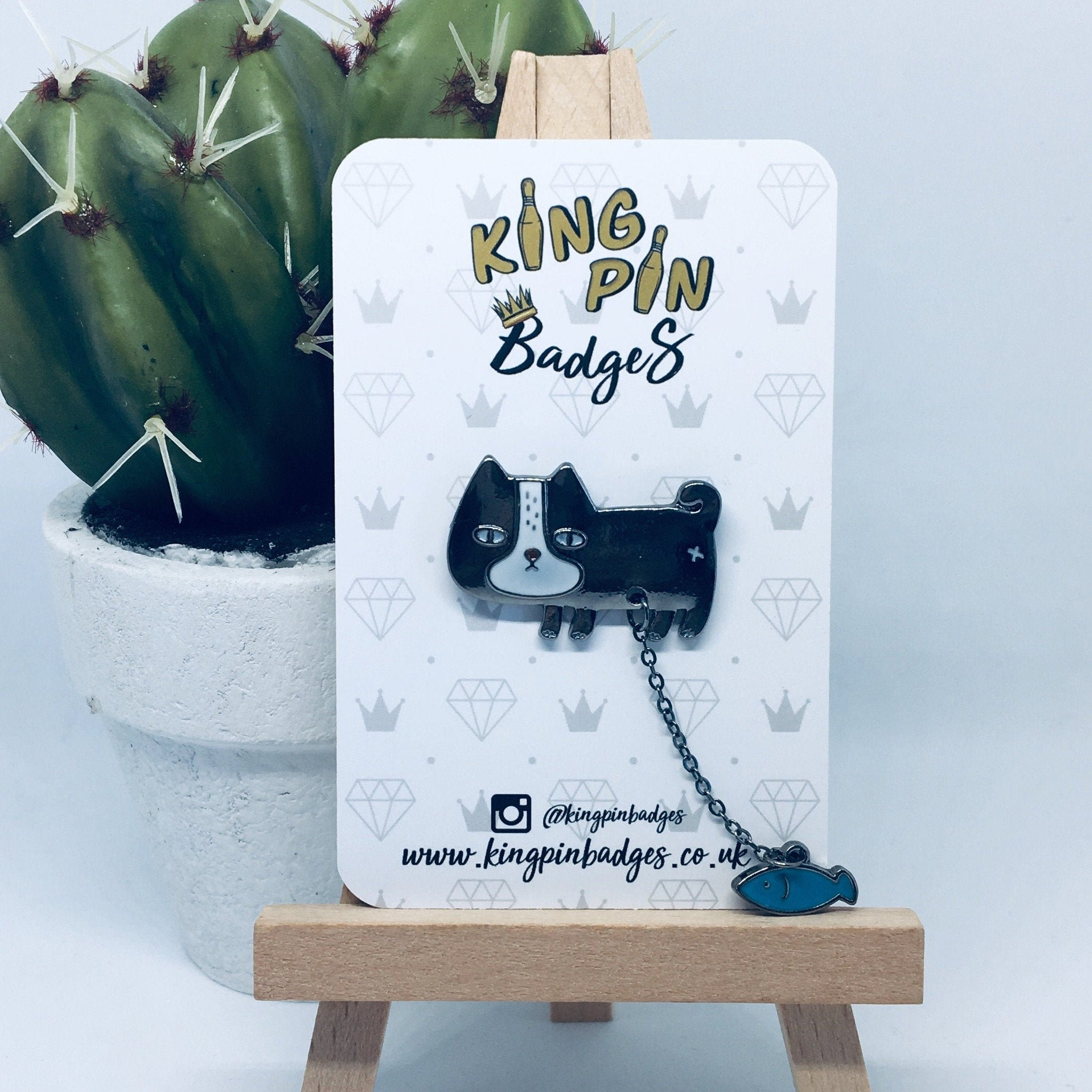 CAT & FISH Enamel Pin Badge