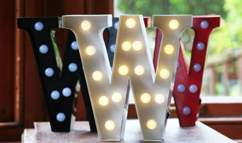 Metal W LED Letter Light