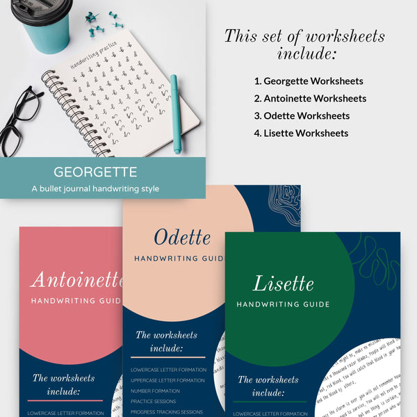 A set of the HANDWRITING BUNDLE and GEORGETTE worksheets