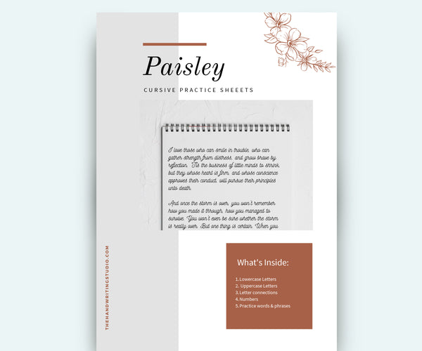 80 pages PAISLEY Cursive Worksheets