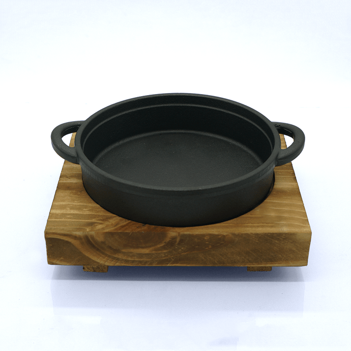 Cast Iron Hot Pan with Square Wooden Base - Eco Prima Home and Commercial Kitchen Supply