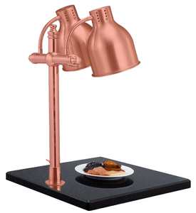 Double Head Rose Gold Food Warmer with Large Granite Base - Eco Prima Home and Commercial Kitchen Supply
