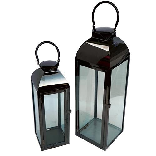 Black Glass Lantern - Eco Prima Home and Commercial Kitchen Supply