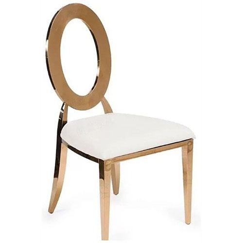 Round Rose Gold Banquet Chair - Eco Prima Home and Commercial Kitchen Supply