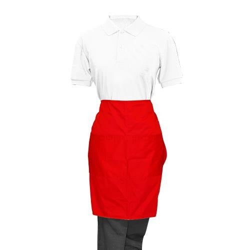 Red Half Apron - Eco Prima Home and Commercial Kitchen Supply