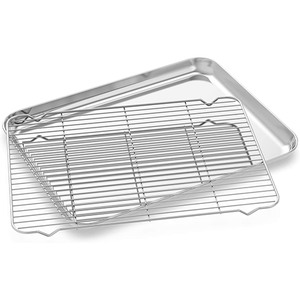 "Small Baking Pan with Cooling Rack Set, 10"" x 8"" - Eco Prima Home and Commercial Kitchen Supply"