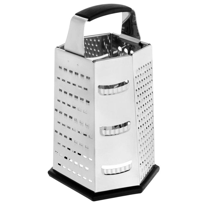 Big 6-Sided Stainless Steel Box Grater with Soft Grip - Eco Prima Home and Commercial Kitchen Supply
