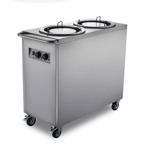 Stainless Steel Mobile Enclosed Two Stack Heated Plate Dispenser / Warmer - Eco Prima Home and Commercial Kitchen Supply