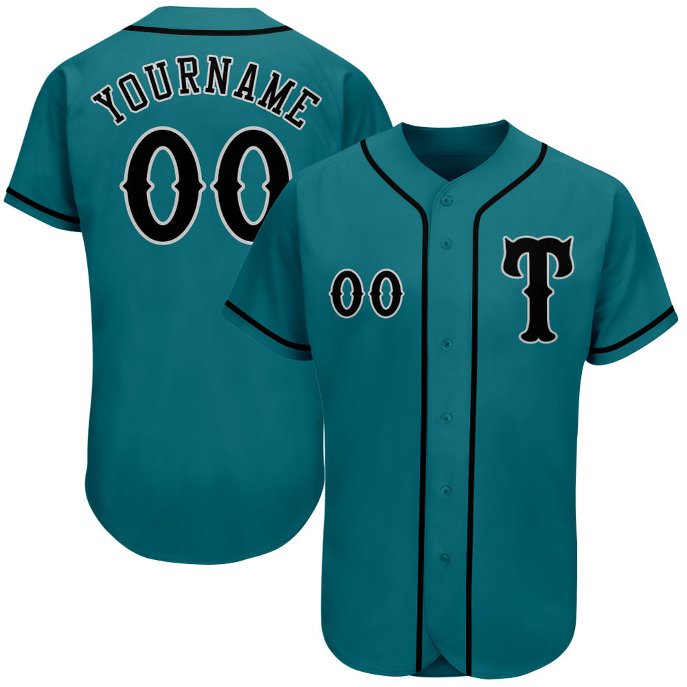 Custom Aqua Black-Gray Authentic Baseball Jersey