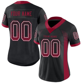 Custom Black Cardinal-White Mesh Drift Fashion Football Jersey