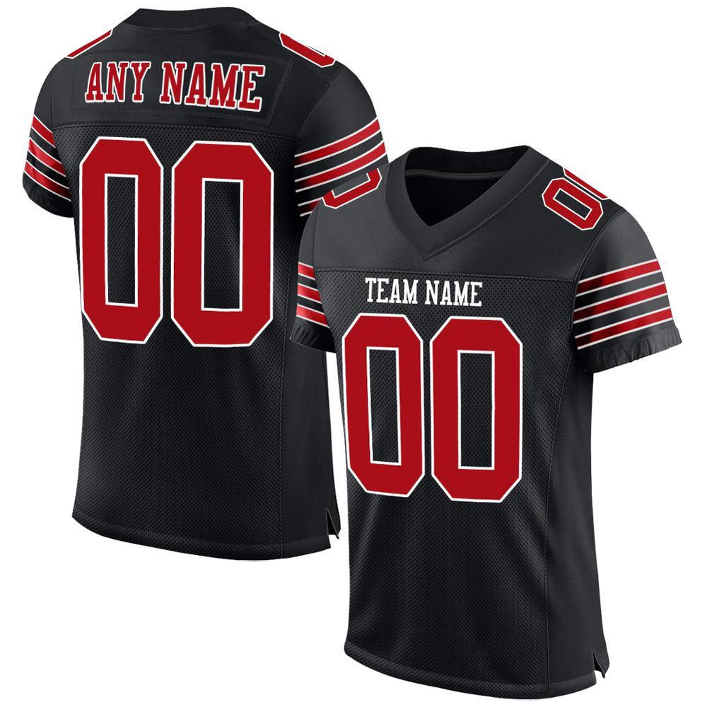 Custom Black Red-White Mesh Authentic Football Jersey