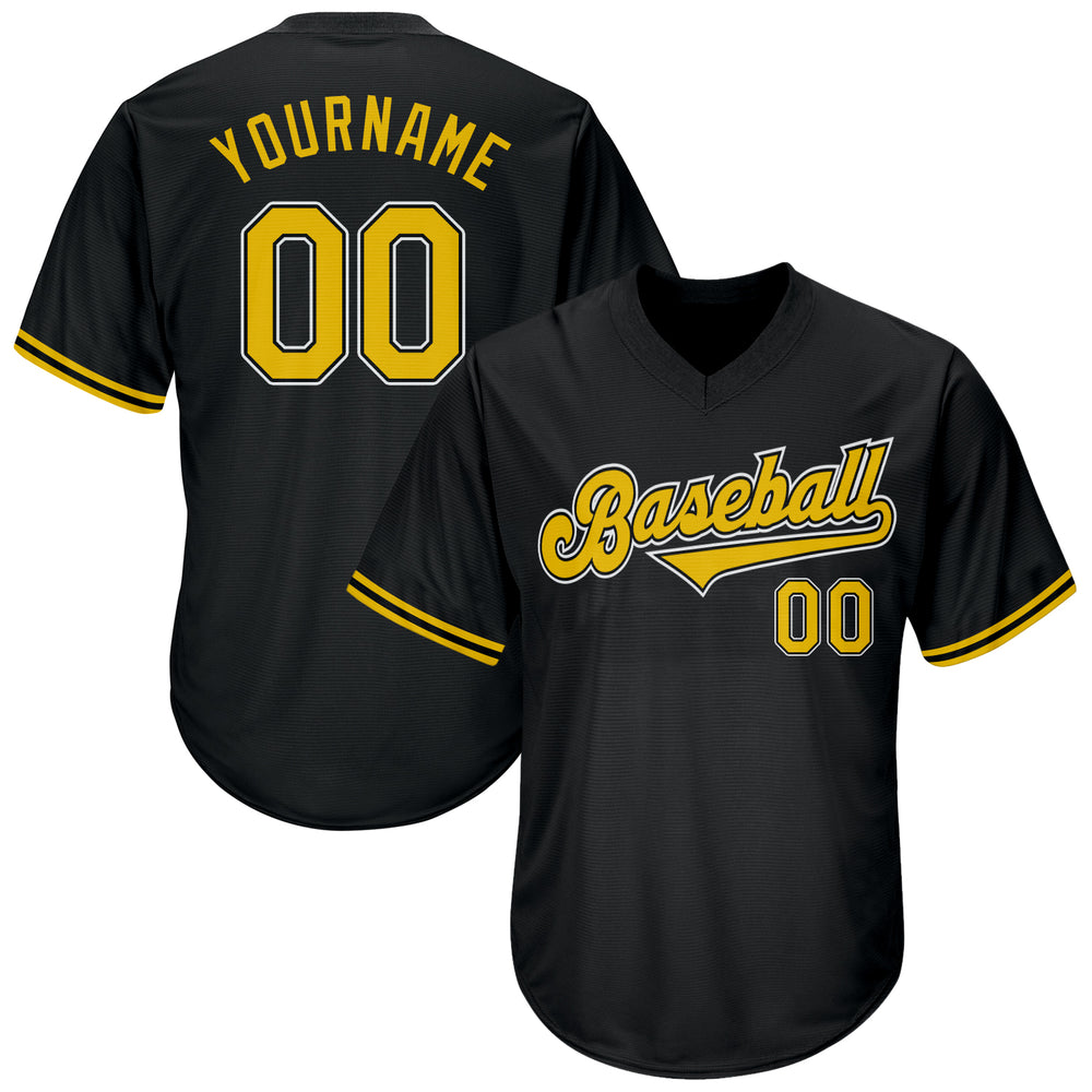 Custom Black Gold-White Authentic Throwback Rib-Knit Baseball Jersey Shirt