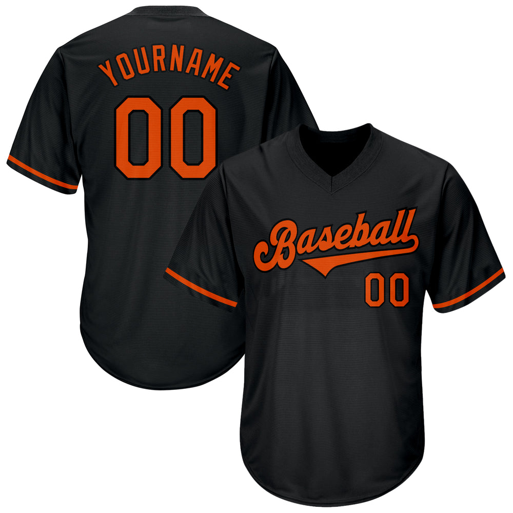 Custom Black Orange-Black Authentic Throwback Rib-Knit Baseball Jersey Shirt