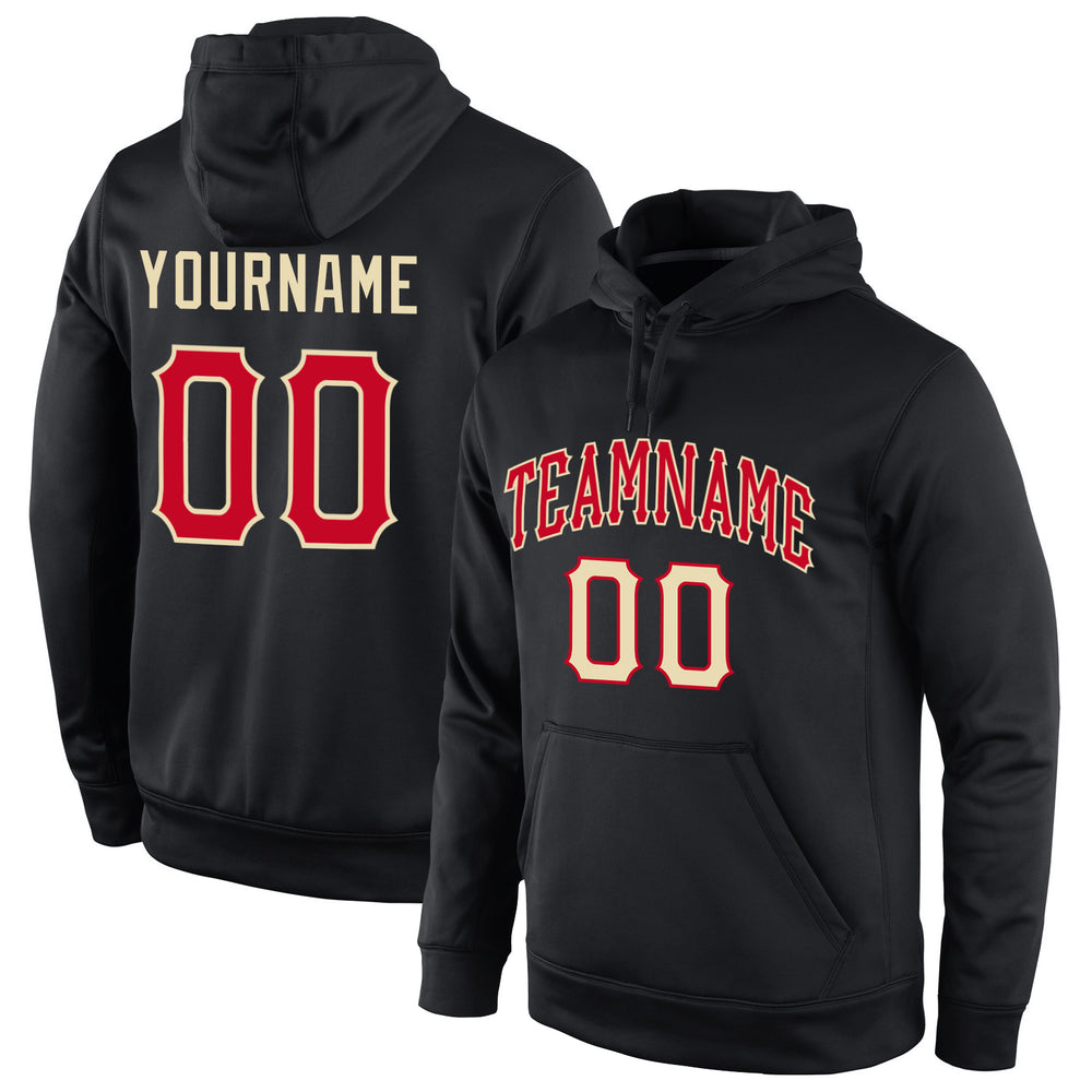 Custom Stitched Black Red-Cream Sports Pullover Sweatshirt Hoodie