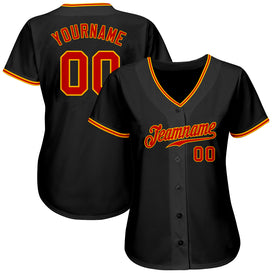 Custom Black Red-Gold Authentic Baseball Jersey