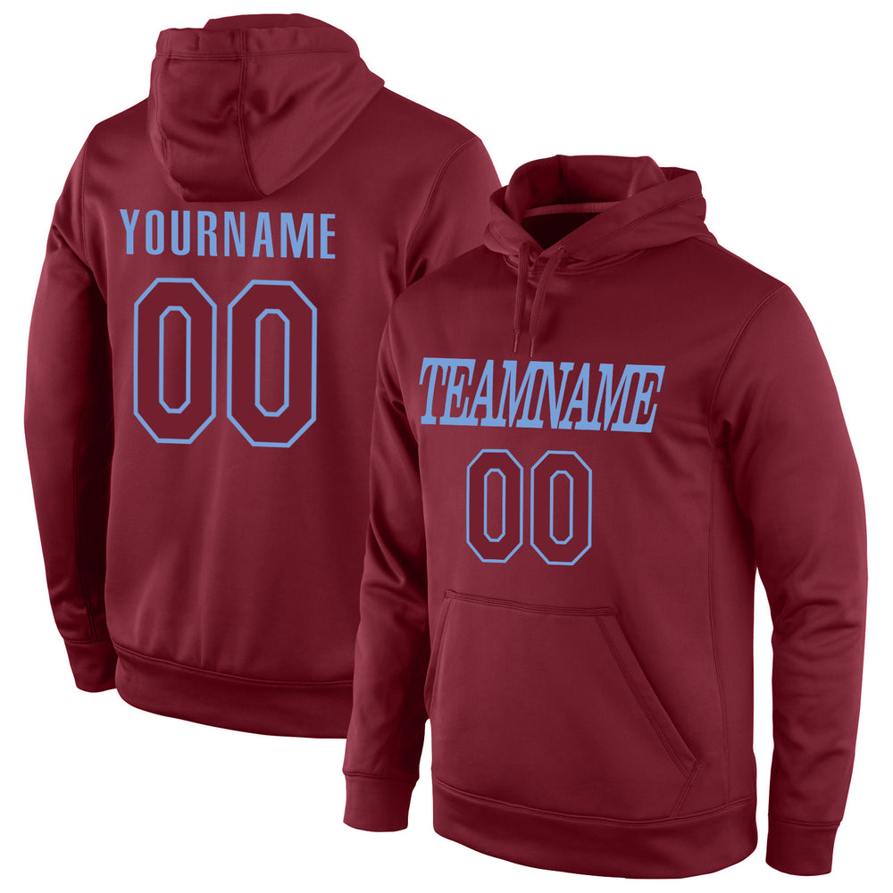 Custom Stitched Burgundy Burgundy-Light Blue Sports Pullover Sweatshirt Hoodie