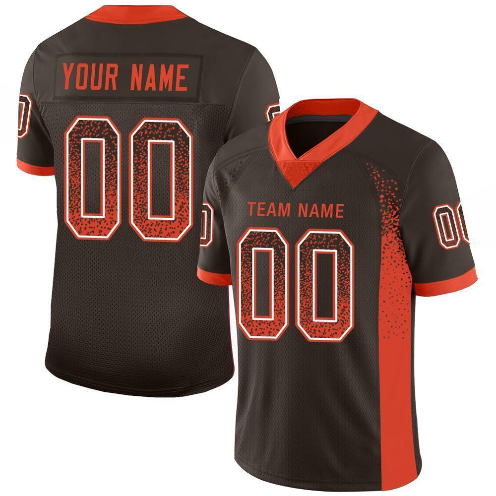 Custom Brown Orange-White Mesh Drift Fashion Football Jersey