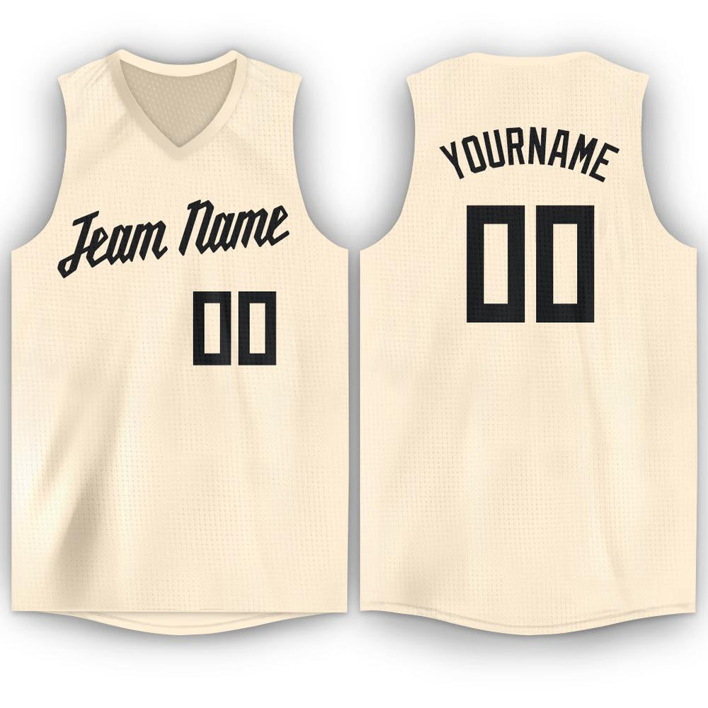 Custom Cream Black V-Neck Basketball Jersey