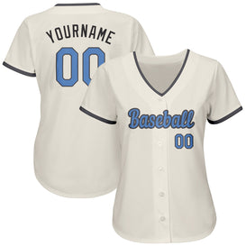 Custom Cream Light Blue-Dark Gray Authentic Father's Day Baseball Jersey