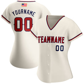 Custom Cream Red-Navy Authentic American Flag Fashion Baseball Jersey