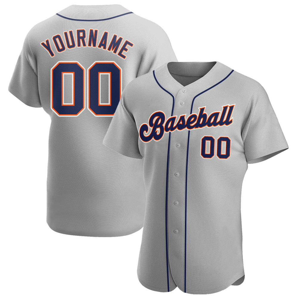 Custom Gray Navy-Orange Authentic Baseball Jersey