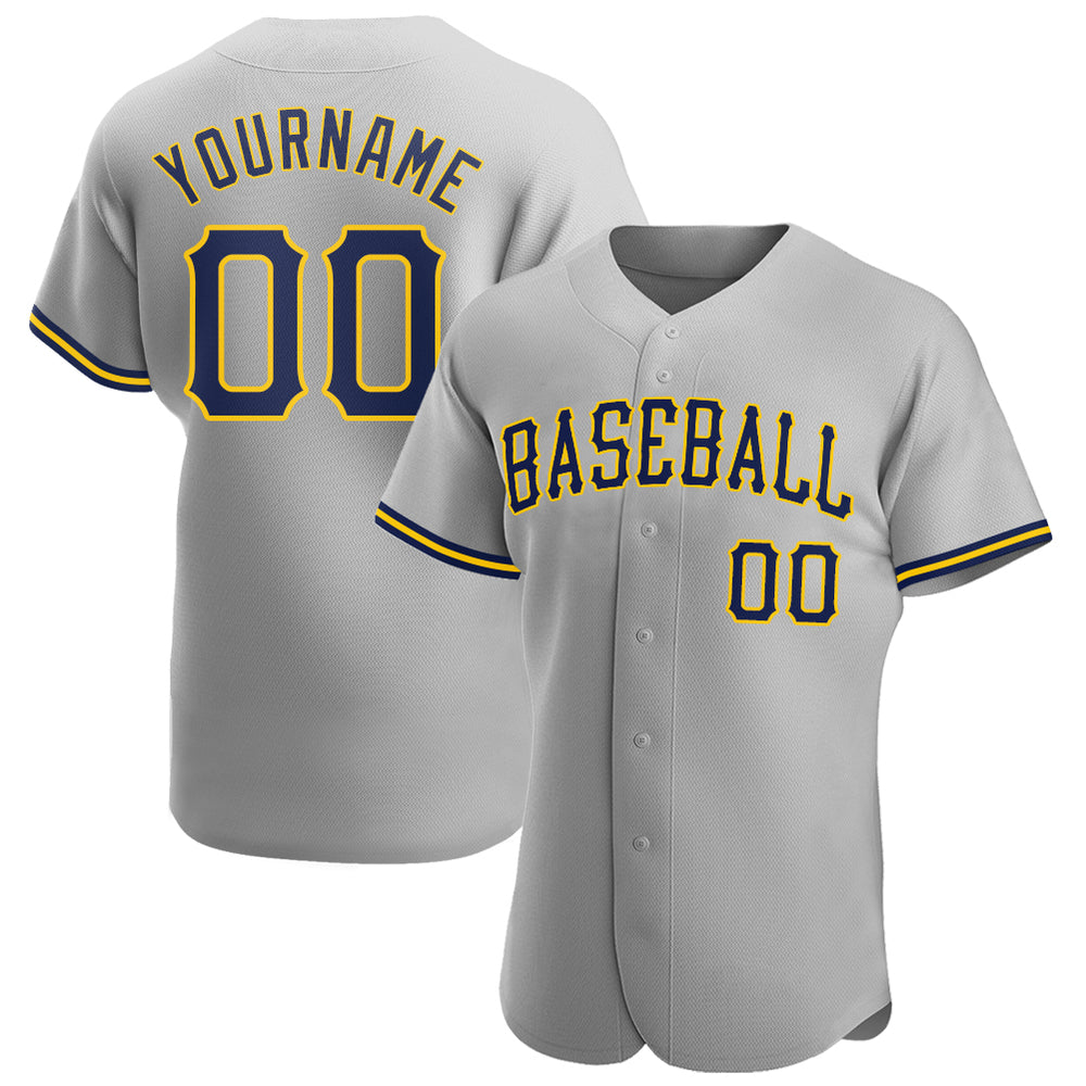 Custom Gray Navy-Gold Authentic Baseball Jersey