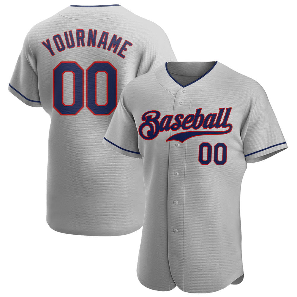 Custom Gray Navy-Red Authentic Baseball Jersey