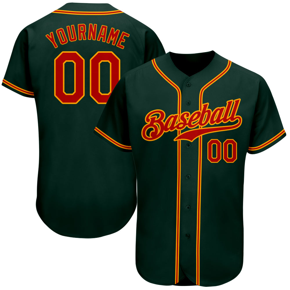 Custom Green Red-Gold Authentic Baseball Jersey