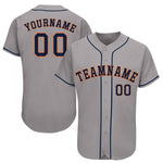 Custom Gray Navy-Orange Baseball Jersey