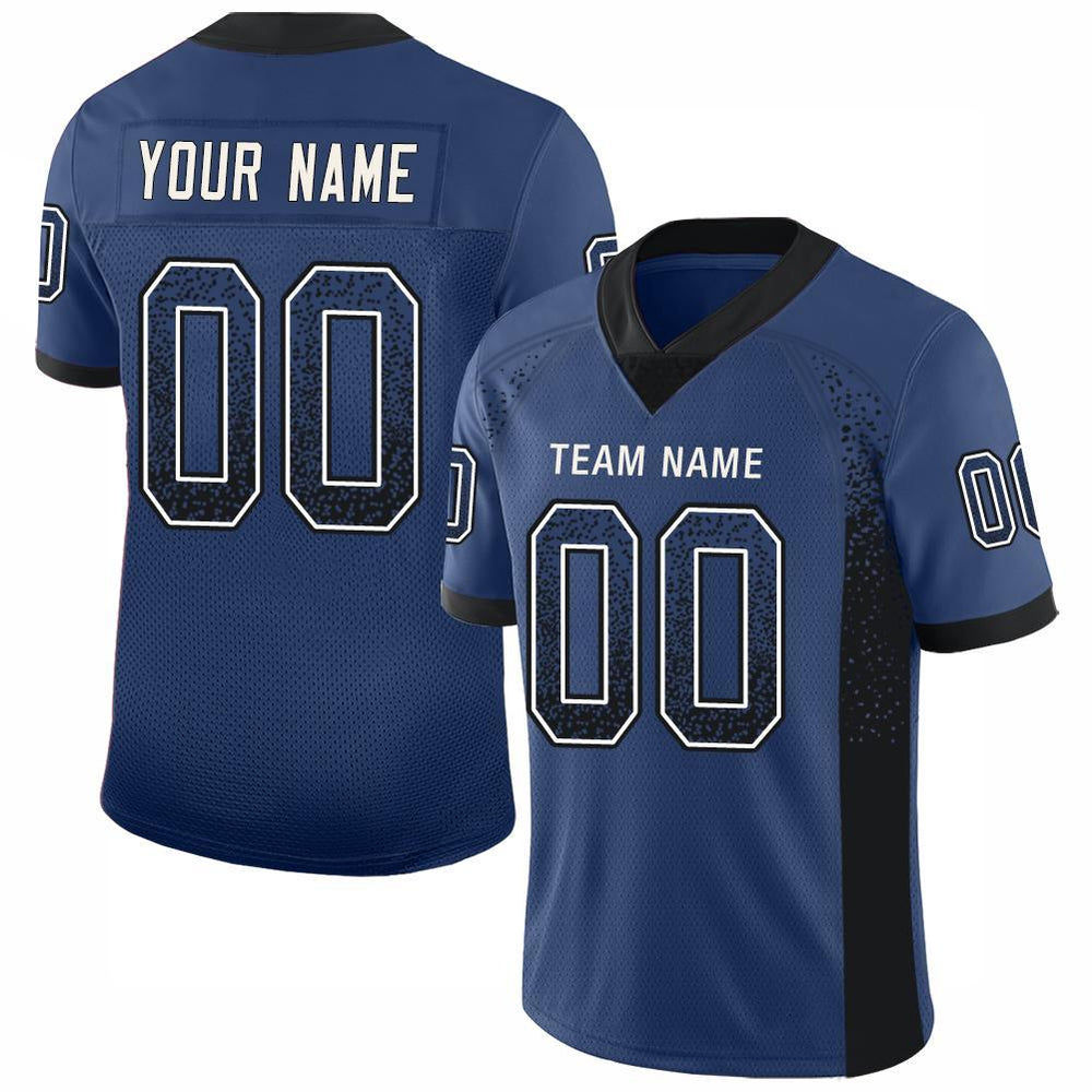 Custom Royal Black-White Mesh Drift Fashion Football Jersey