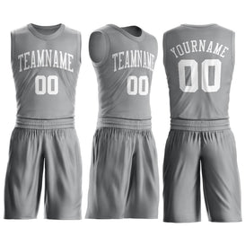 Custom Silver Gray White Round Neck Suit Basketball Jersey