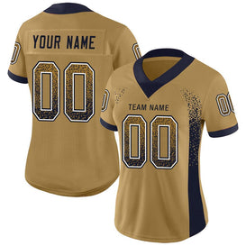 Custom Old Gold Navy-White Mesh Drift Fashion Football Jersey