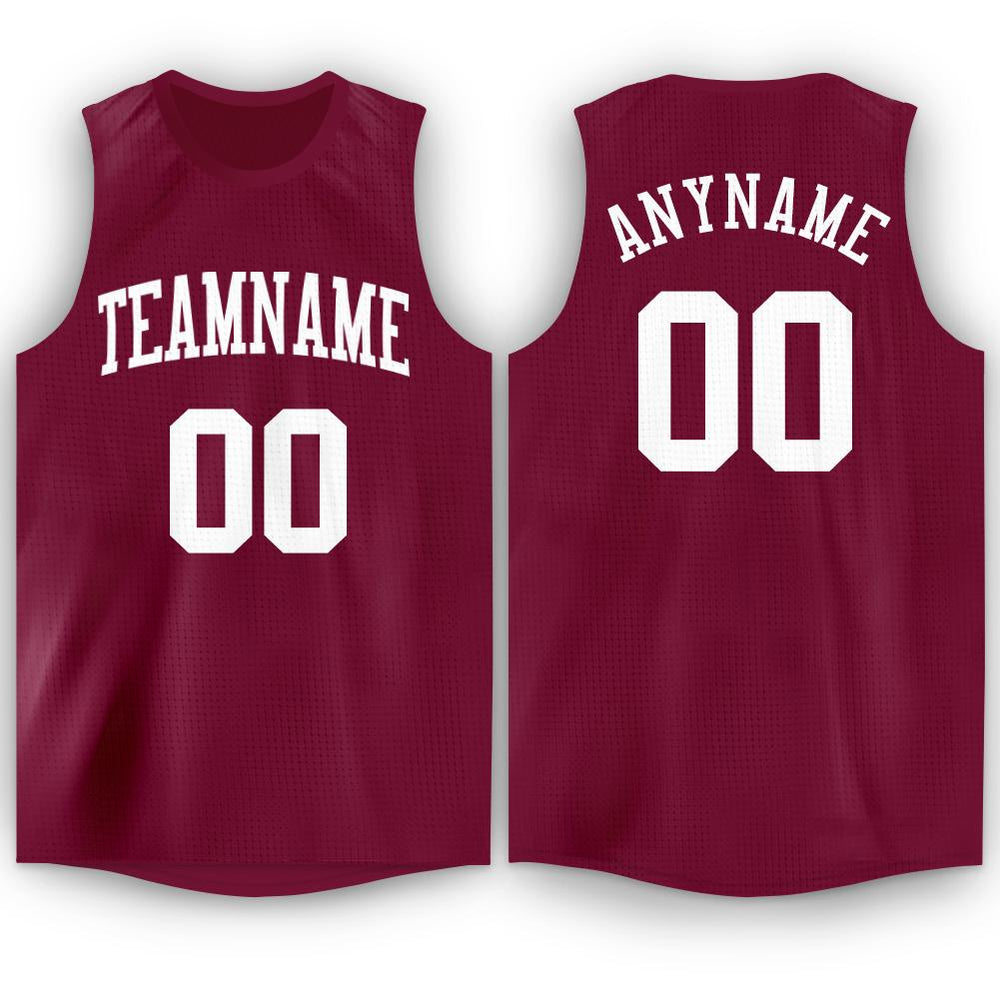 Custom Maroon White Round Neck Basketball Jersey