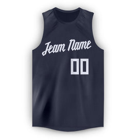 Custom Navy White Round Neck Basketball Jersey