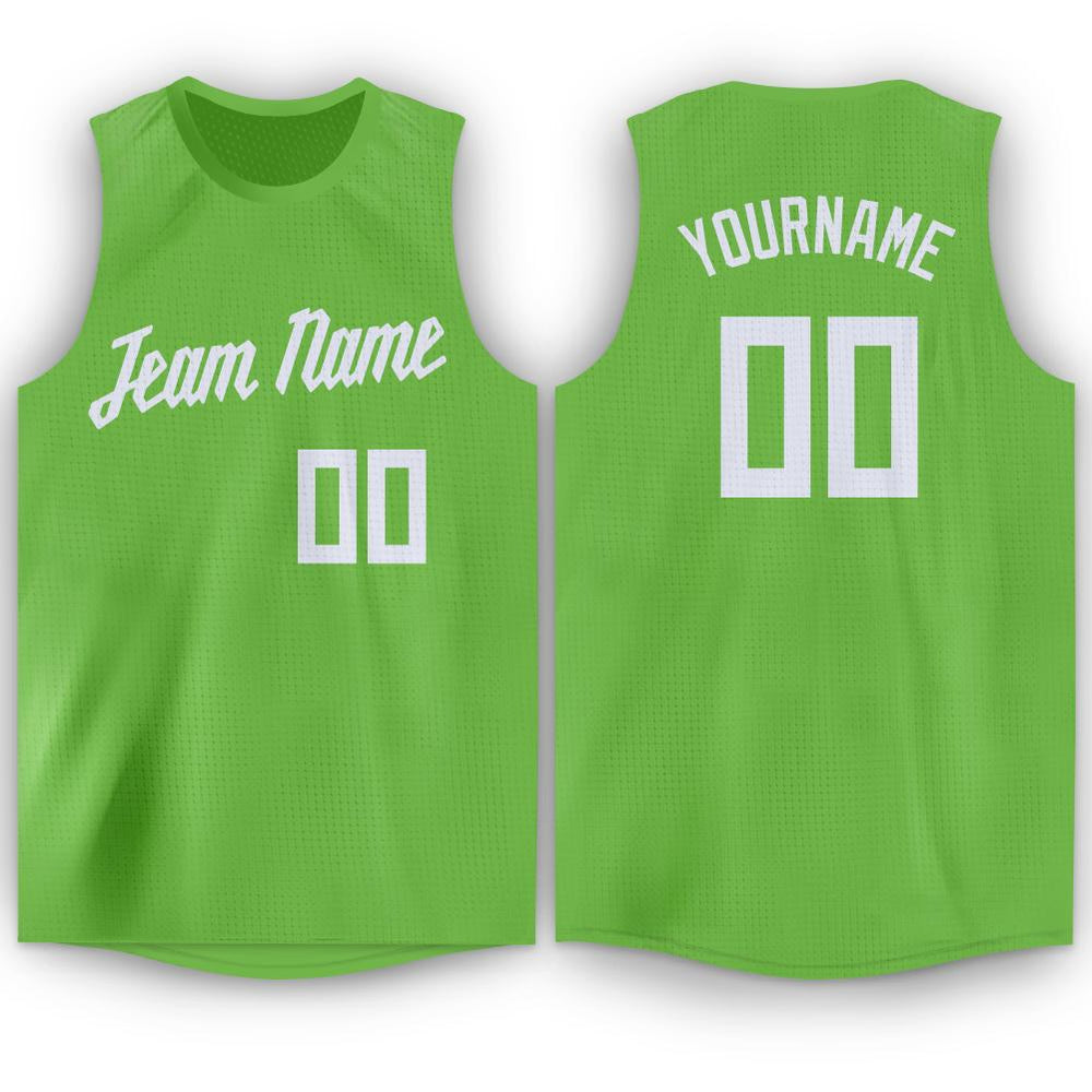 Custom Neon Green White Round Neck Basketball Jersey