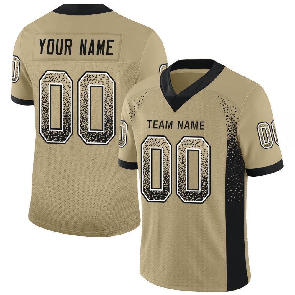 Custom Vegas Gold Black-White Mesh Drift Fashion Football Jersey