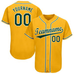 Custom Gold Green-White Baseball Jersey