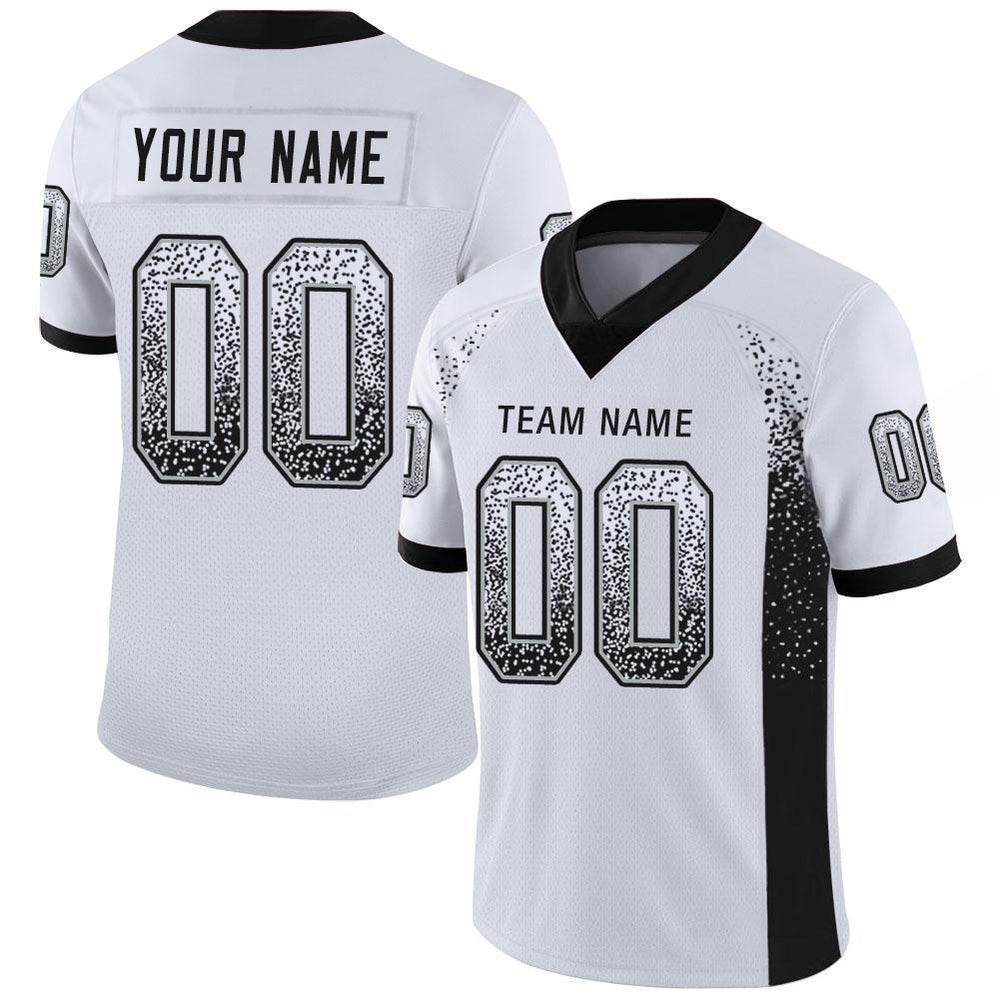 Custom White Black-Silver Mesh Drift Fashion Football Jersey