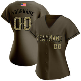 Custom Olive Camo-Black Authentic Salute To Service American Flag Fashion Baseball Jersey