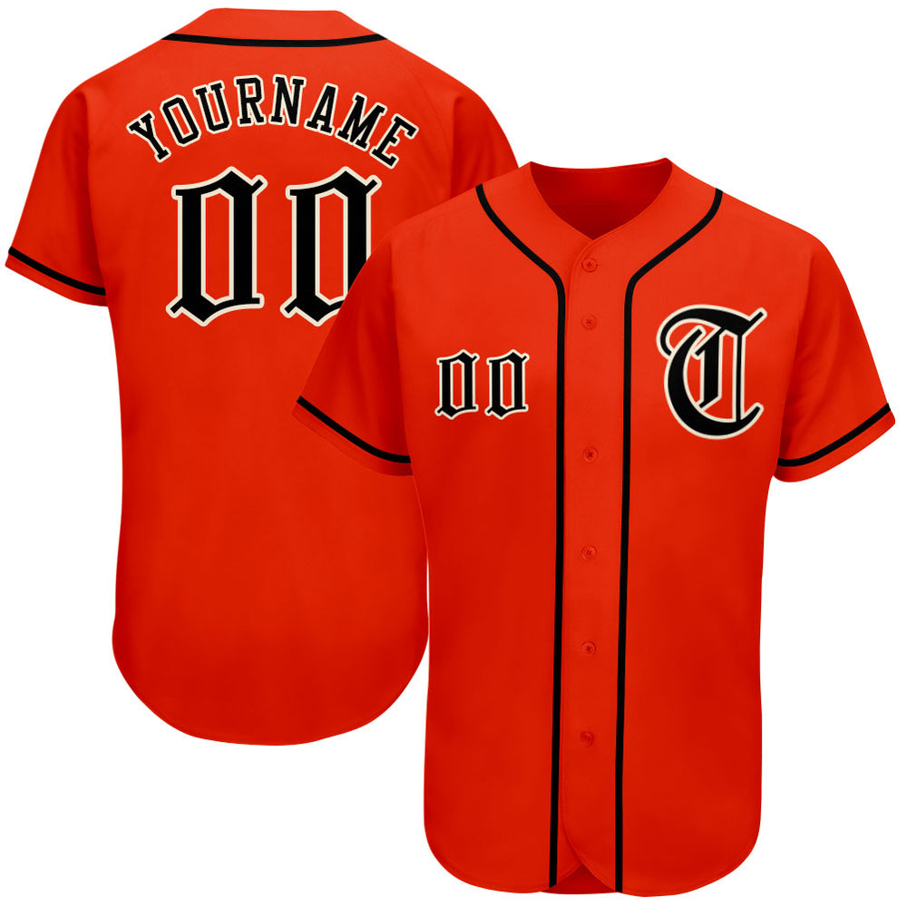 Custom Orange Black-Cream Authentic Baseball Jersey
