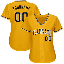 Load image into Gallery viewer, Custom Gold Black-White Baseball Jersey